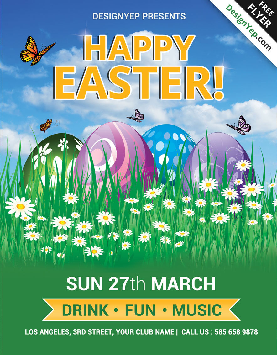 Free Happy Easter Flyer PSD Template 8668 DesignYep  Fun Poster Templates