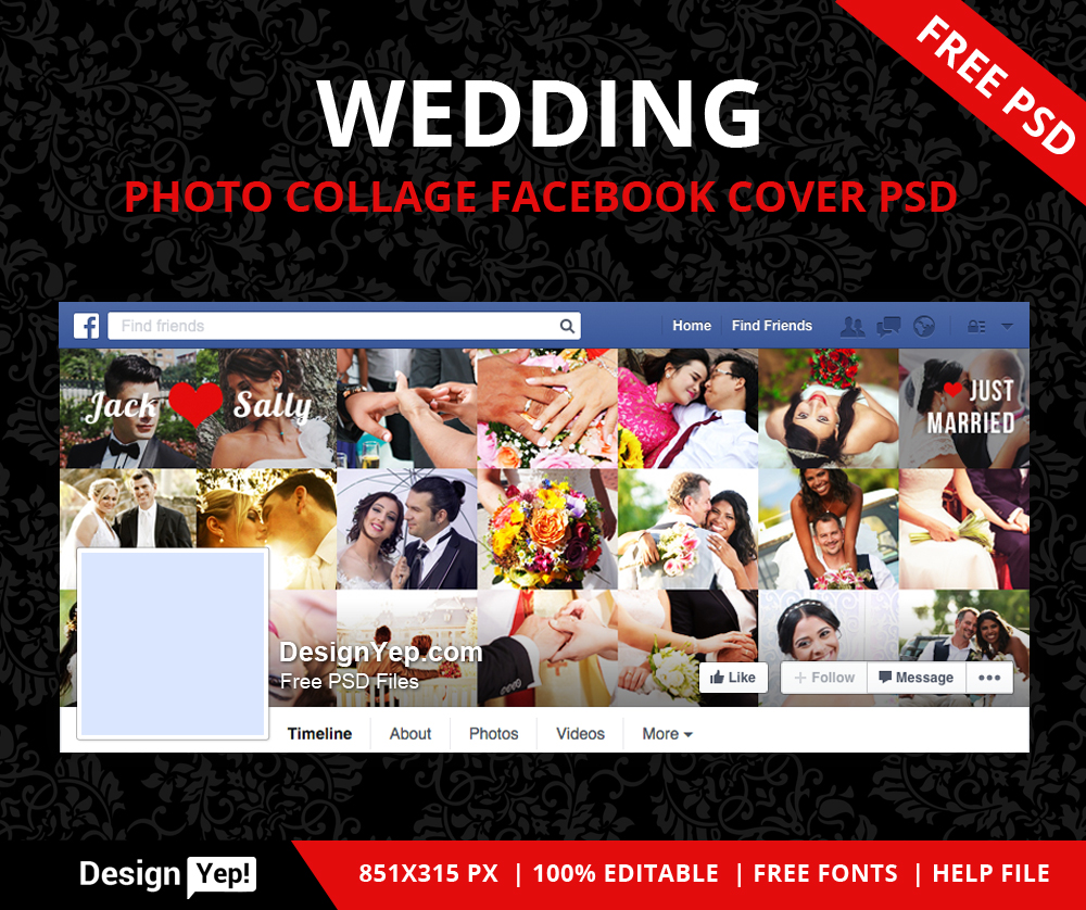 Free-Wedding-Photo-Collage-Facebook-Timeline-Cover-PSD-7887-DesignYep