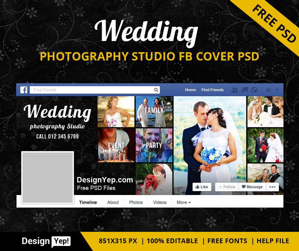 free wedding photography studio facebook timeline cover psd