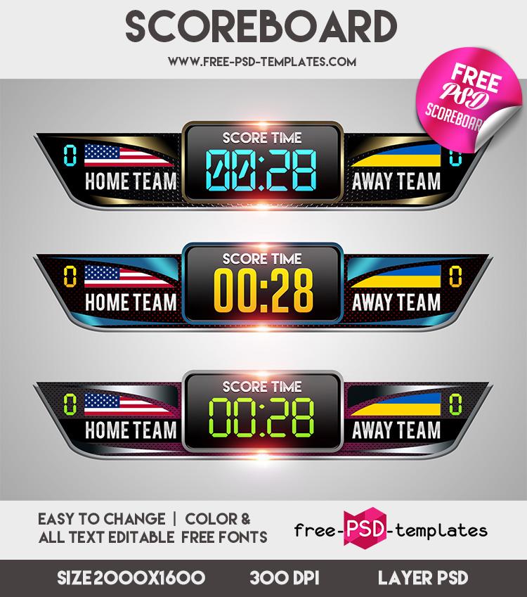 Free Scoreboard Psd Mockup | Free Psd Templates