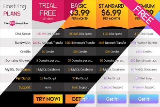 FREE Clean Pricing Table in PSD