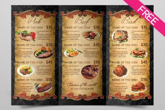Grill Menu – FREE Trifold Brochure in PSD