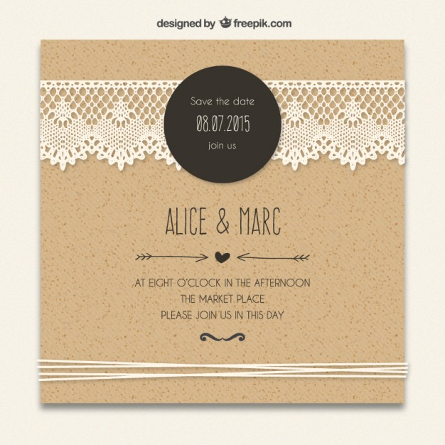 60 free must have wedding templates for designers free psd templates cardboard invitation wedding template with lacy decoration free vector stopboris Image collections