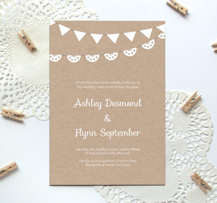 Free Kraft Paper Printable Wedding Invitation Template  Free Wedding Invitation Card Templates