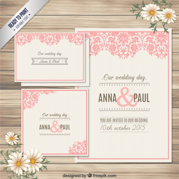 ornamental wedding invitation card free vector