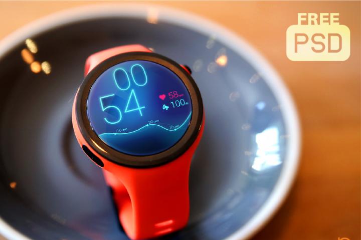 Free Moto 360 Watch Mockup