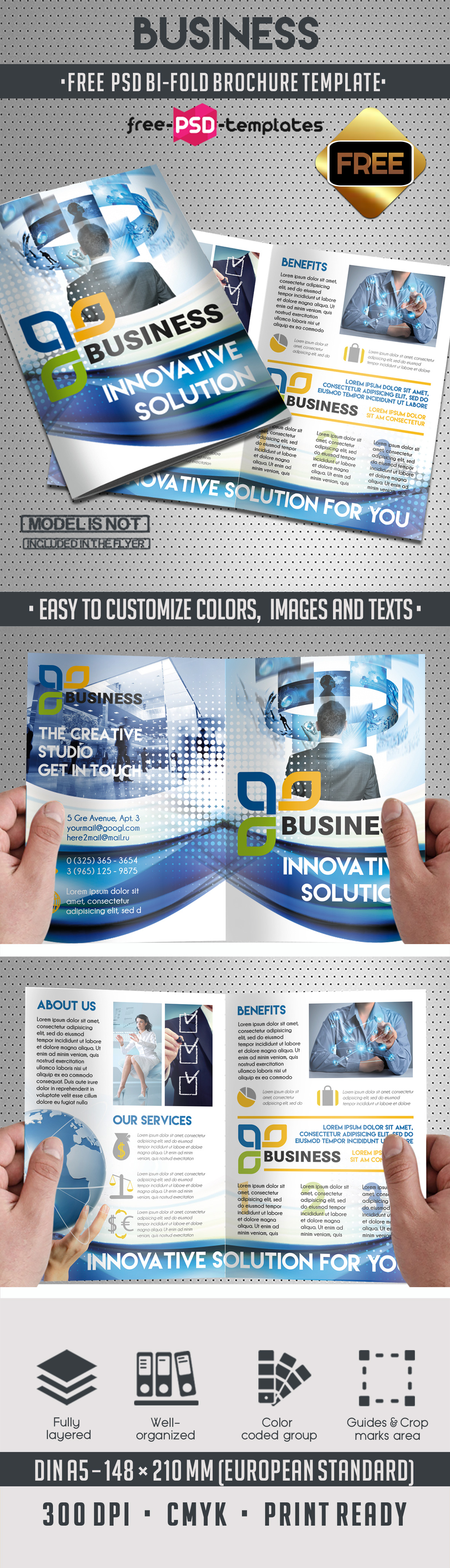 Free Corporate Business PSD Bi-Fold Brochure | Free-PSD ...
