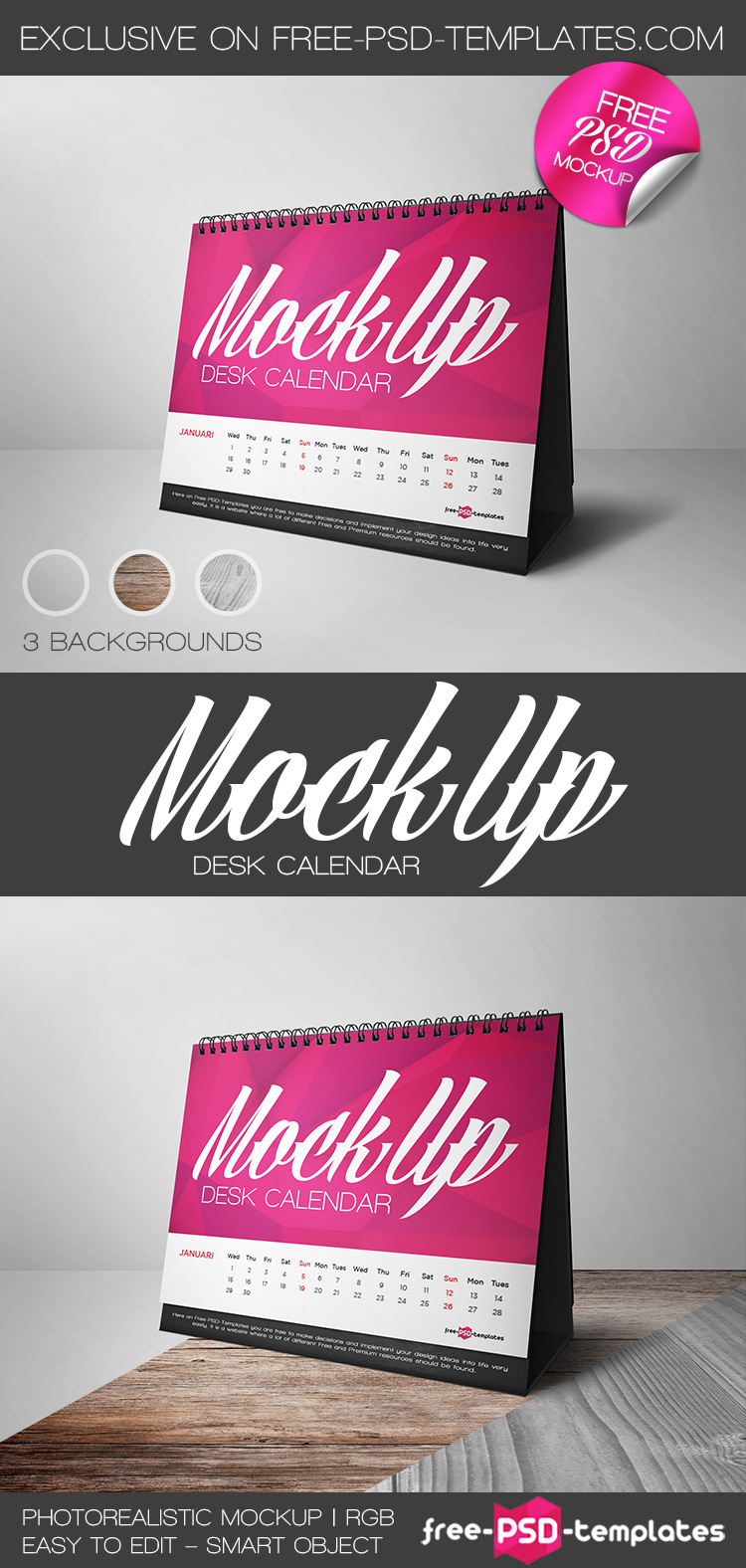 Table Calendar Mockup : Free desk calendar mock up in psd templates