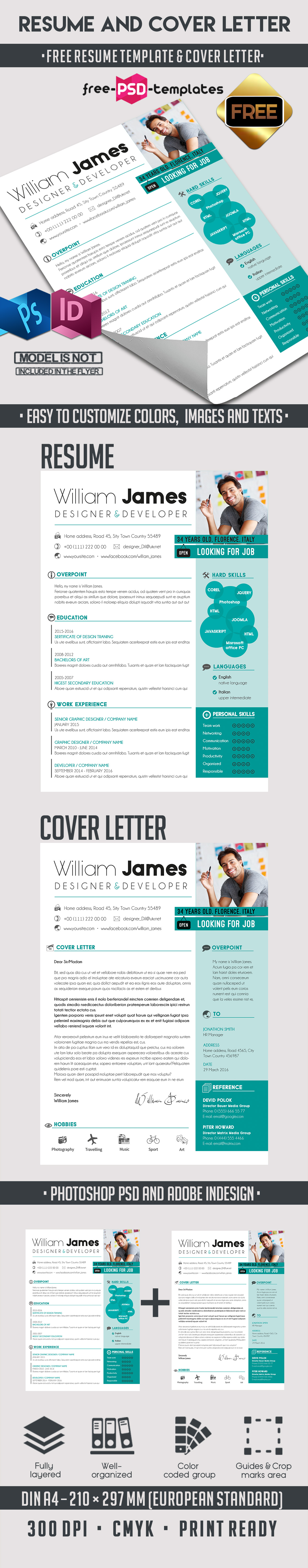 Free resume template cover letter free psd templates bigpreviewfree resume template cover letter madrichimfo Image collections