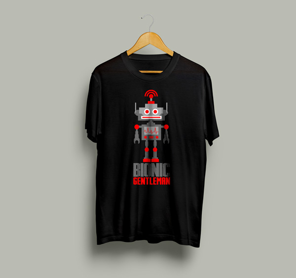 bionic gentleman t shirt mock up design template - Free T Shirt Mockup Template
