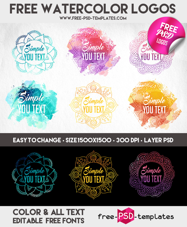 Free Watercolor Logos IN PSD | Free-PSD-Templates