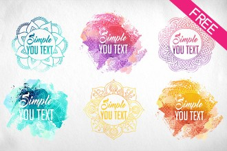 Free Watercolor Logos IN PSD