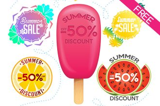 FREE Summer Sale/Discount Stickers IN PSD