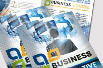 Free Corporate Business PSD Bi-Fold Brochure