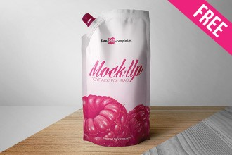 Free Doypack Foil Bag Mock-up in PSD
