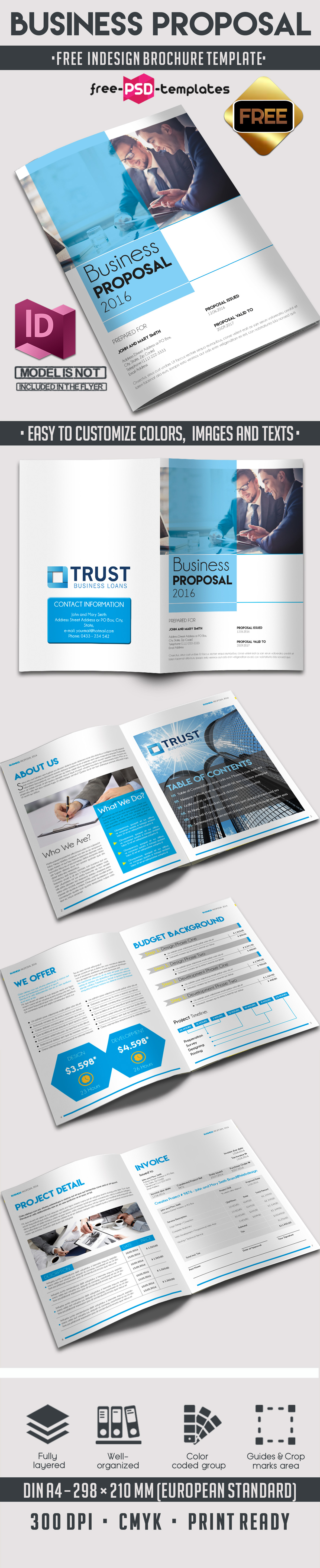 Free business proposal brochure 8 pages a4 free psd for 4 page brochure template free