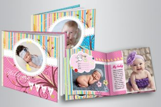 Free Personalized Photo album for babies. Adobe InDesign template