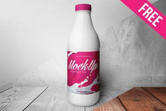 Free Milk Bottle Mock-up in PSD