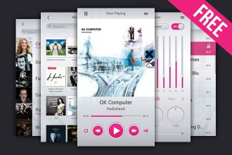 Free Music Player UI Kit Template (PSD)