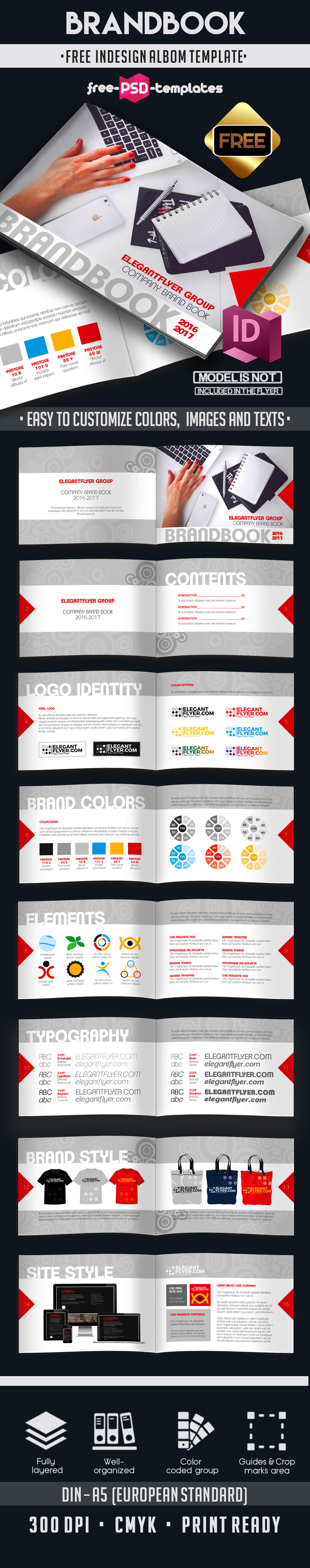 Free Brand Book 16 pages A5 | Free PSD Templates