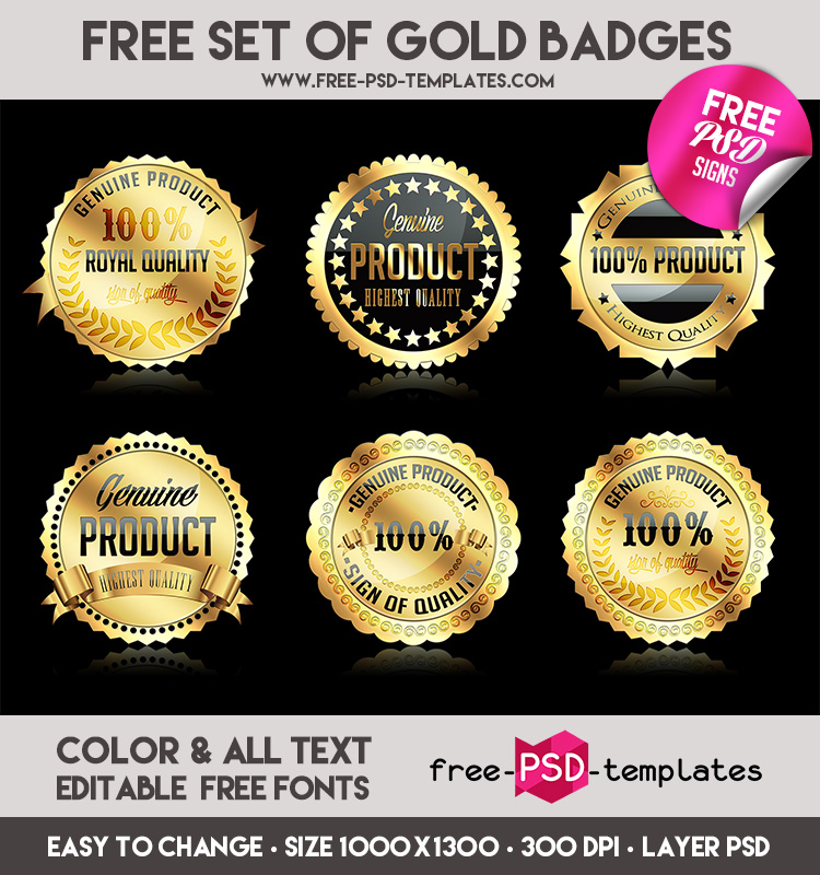 free set of gold badges in psd free psd templates