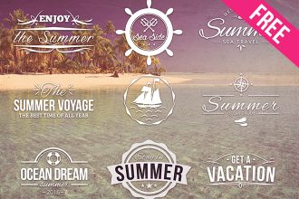Free PSD Summer Logos Set