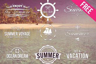 Free PSD Summer Logos Set