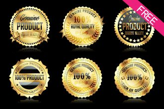 FREE Set Of Gold Badges IN PSD