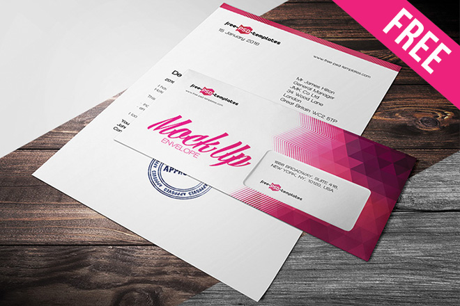 free envelope mock up in psd free psd templates