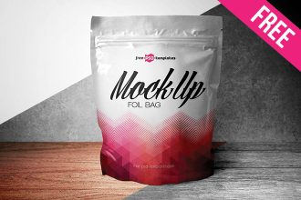 Free Foil Bag Packaging Mockup PSD