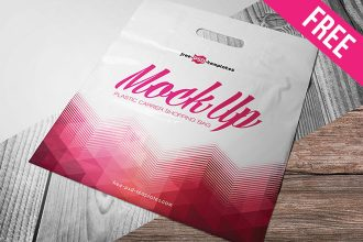 Free Plastic Carrier Shopping Bag Mock-up in PSD