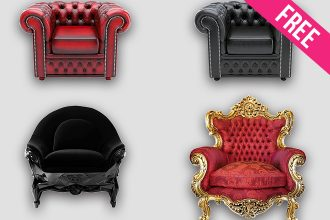 Free Set of Luxury Armchairs in PSD