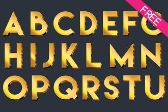 FREE Golden Alphabet Numbers and Signs IN PSD