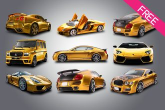FREE Set Of Gold Car IN PSD
