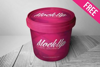 Free Plastic Container Packaging Mock-up in PSD