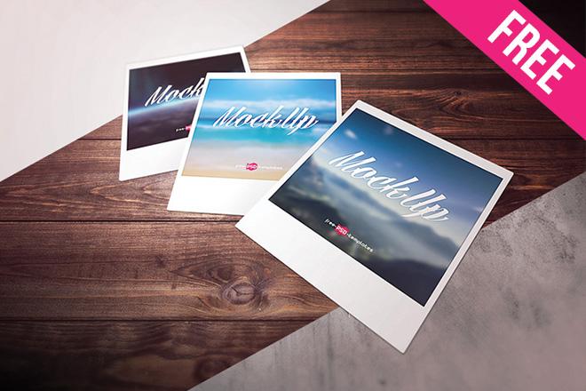 free polaroid photo mock up in psd free psd templates
