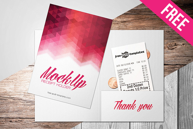 Free Receipt Holder Mock Up In Psd Free Psd Templates