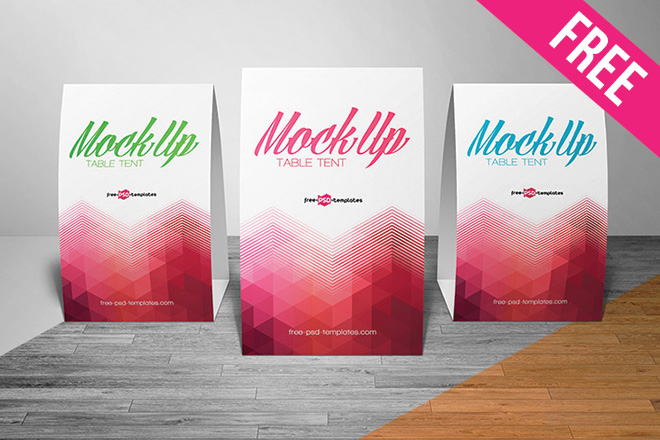 free table tent mock up in psd free psd templates
