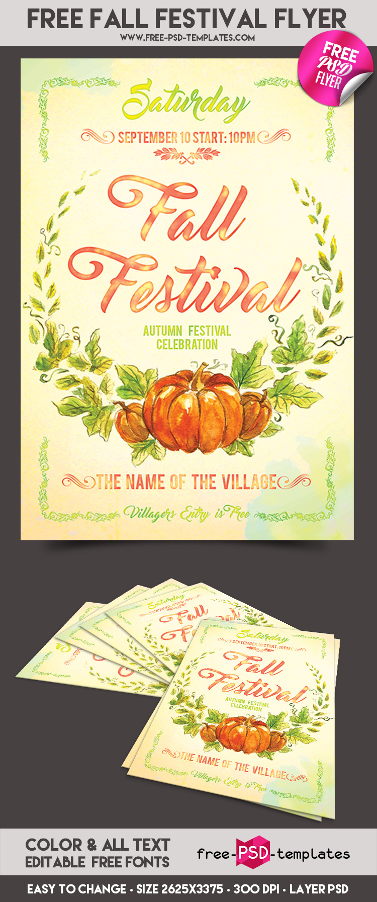 free fall festival flyer in psd free psd templates. Black Bedroom Furniture Sets. Home Design Ideas