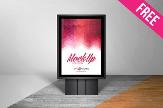 Free Lightbox Poster Outdoor Mock-up in PSD