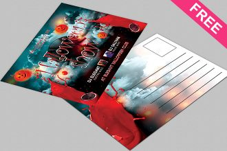 Halloween Show Post Card – Free PSD Post Card Template
