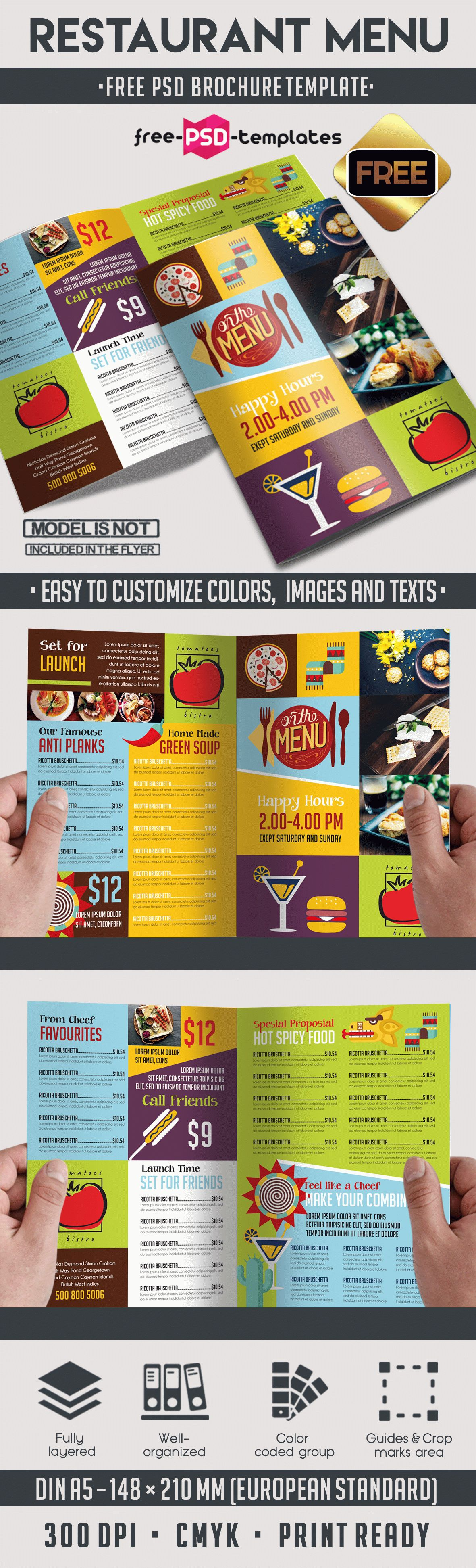 bi fold brochure templates free download - menu free psd bi fold psd brochure template free psd