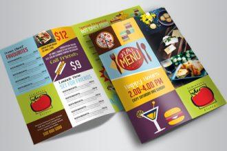 Menu – Free PSD Bi-Fold PSD Brochure Template