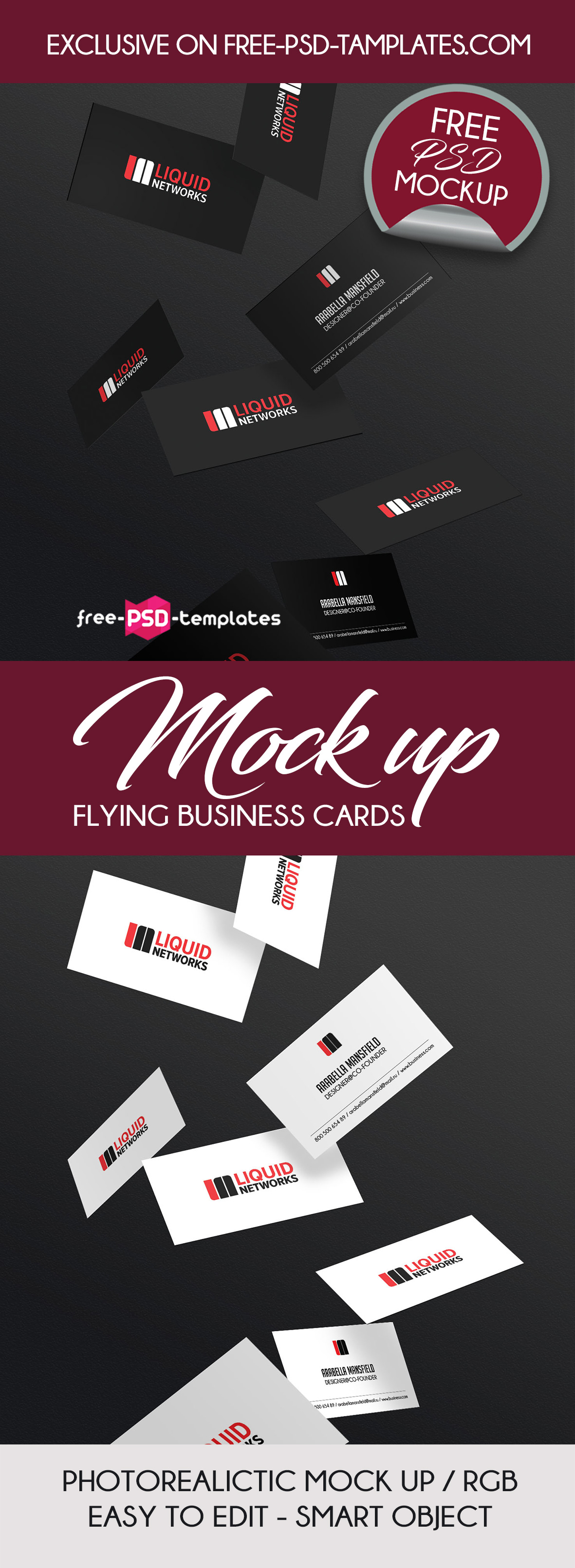 mock up flying business card psd template