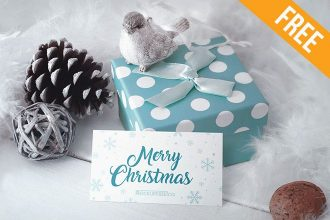 Business Card in Christmas Scenery – Free PSD Mockup