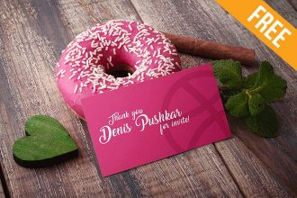 Donut Business Card – Free PSD Mockup