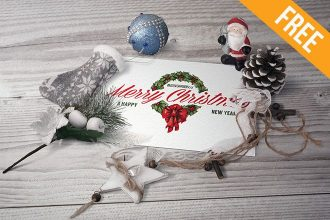 Postcard in Christmas Scenery – Free PSD Mockup