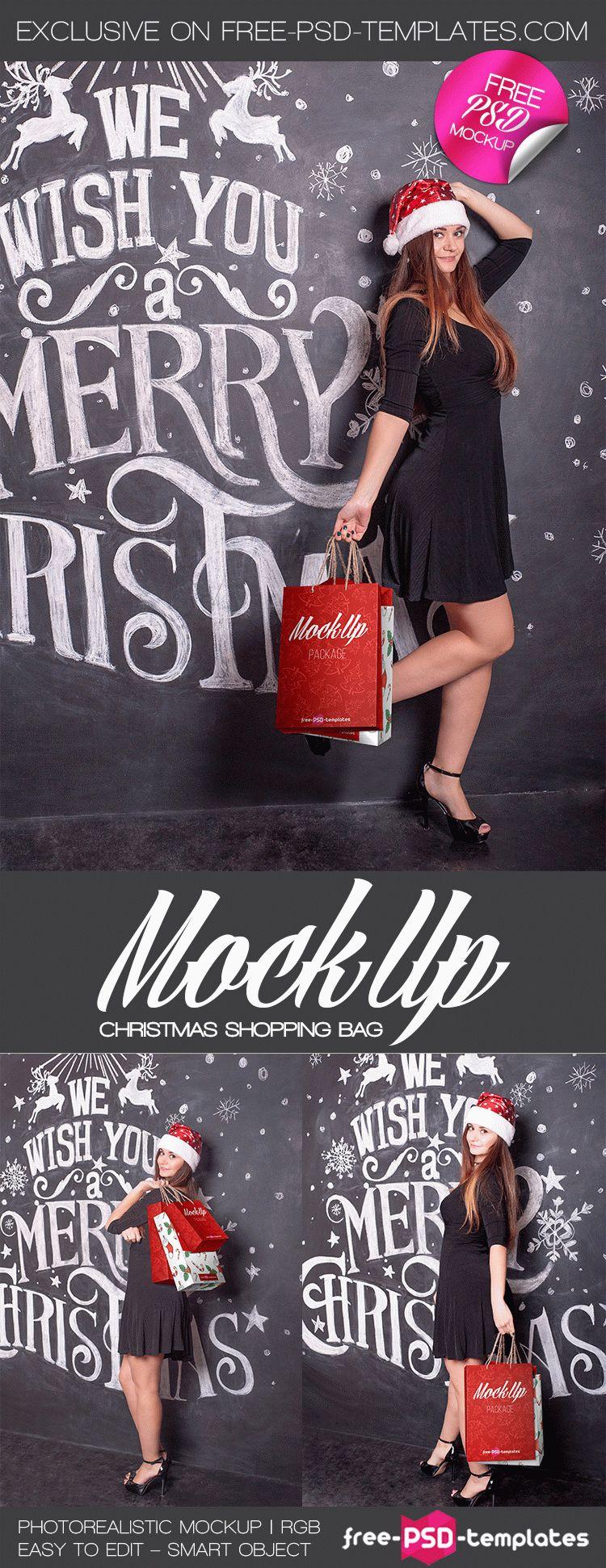рождественский мокап девушки с сумками. christmas mockups