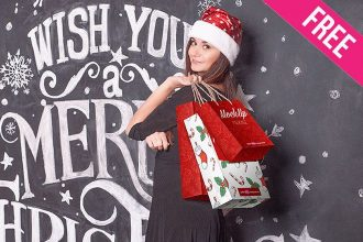 Free Christmas Shopping Bag Mock-up in PSD