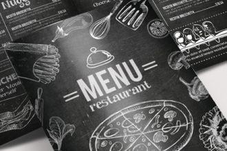 Free Menu blackboard Bi-Fold Brochure